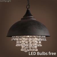 Industrial Vintage Crystal Pendant Light Edison Hanging lamp bedroom/Loft/Kitchen island Retro Crystal ball luces led decoracion