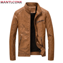 MANTLCONX Autumn Winter Men Motorcycle Leather Jacket Coats Male Casual Zipper Black Overcoat 5XL