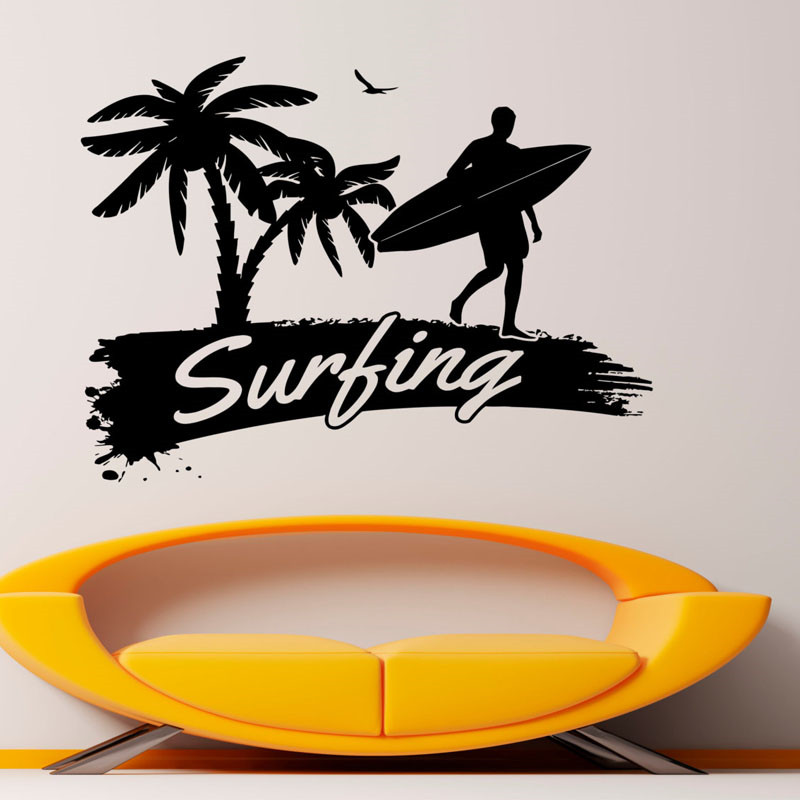 Creative Surfing Wall Decals Home Decor Beach Vinyl Art Water Sports Wall Stickers For Living Room Best Quality