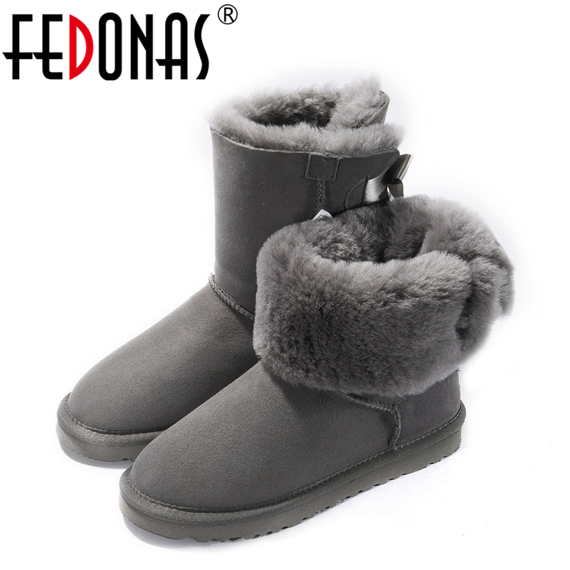 FEDONAS Women Genuine Leather Mid-calf Shoes Woman Warm Wool Snow Boots Flats Heels Comfortable Autumn Winter Suede Boots Women ekoak new 2017 winter boots fashion women boots warm plush mid calf boots ladies platform shoes woman rubber leather snow boots