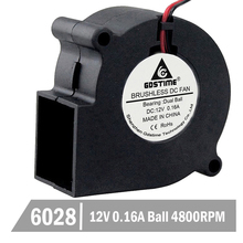 10 Pcs Gdstime 6028 DC 12V 2Pin Brushless Cooling Cooler Centrifugal Blower Fan 60mm 60mmx28mm Ball Bearing