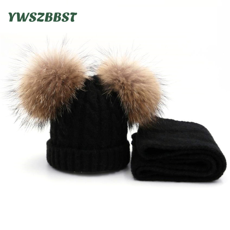 Winter Baby Hats with Scarf Fashion Wool Knit Baby Cap Scarf set with Raccoon Fur Balls Kids Hat Scarf Warm Children Hats set women beanies raccoon fur pompoms wool hat hairball beanie knitted skullies fashion caps ladies knit cap winter hats for women