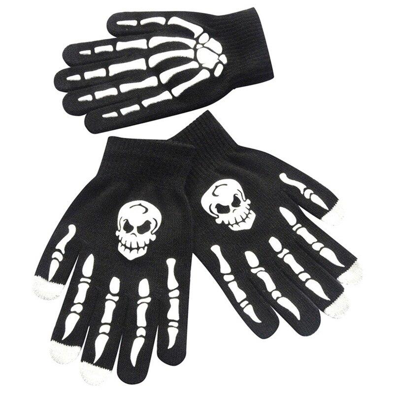 1Pair Men Skull Bone Skeleton Goth Racing Non-Slip Sports Full Finger Gloves Hand Gloves guantes eldiven handschoenen 40FE1807