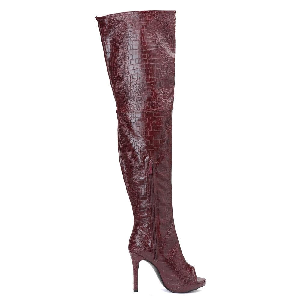 Оригинальные Модные женские ботфорты выше колена сапоги до бедра на тонком каблуке с открытым носком винно красная обувь женская обувь бол... - 2