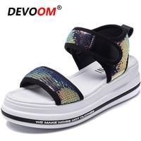 Hook & Loop Bling Women's Sandals Sandalen Dames Fashion Ladies Strap Sandals Breath Beach Summer Wedges New White Teenslippers