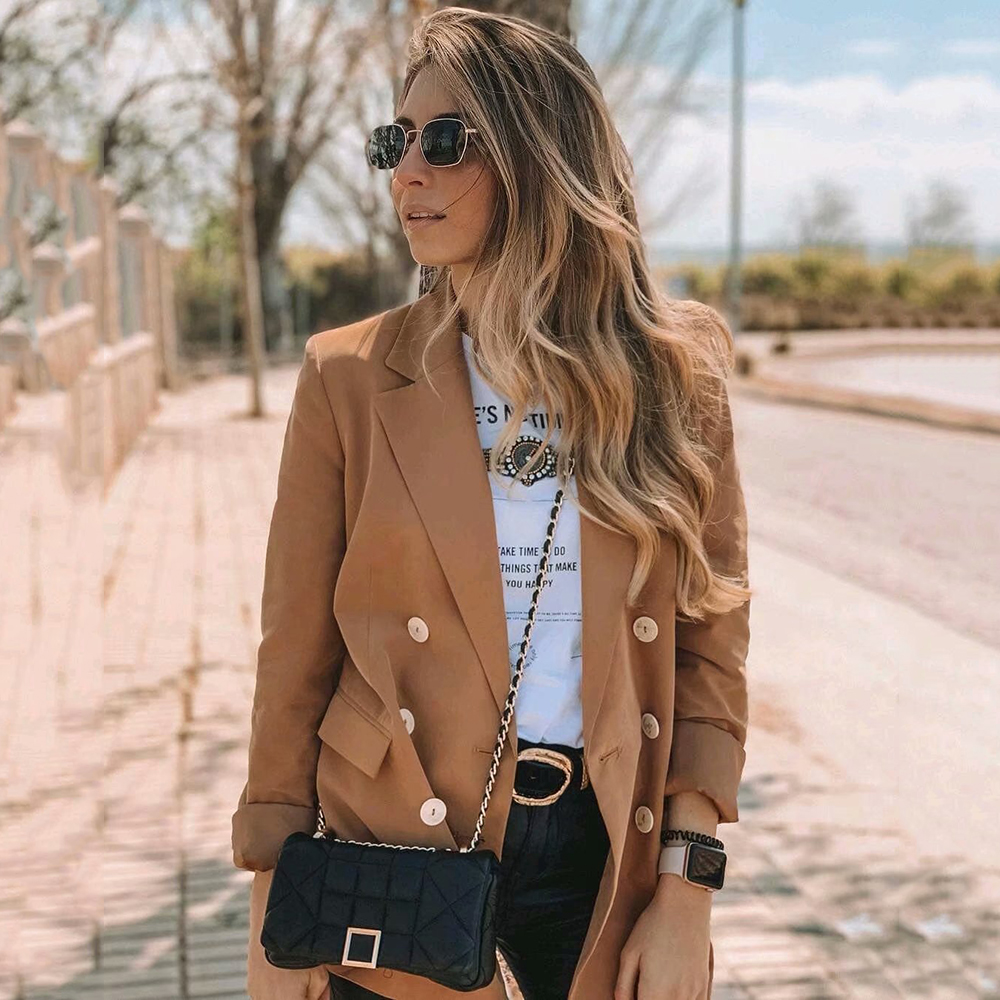 Women Khaki Casual Spring-Autumn Mango Blazer 2019 Women Long Sleeve Double Breasted Blazers For Office Lady Wear Chaqueta Mujer
