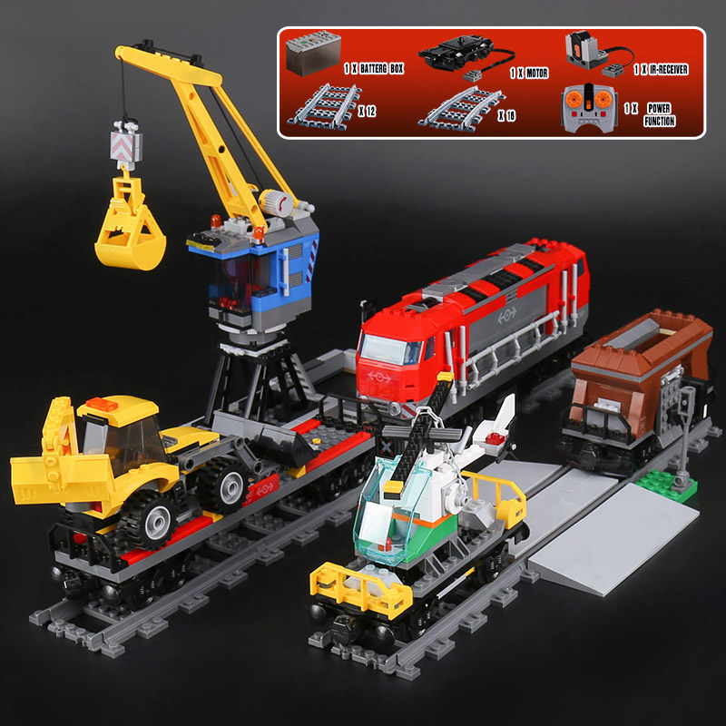 Lepine City 02009 1033pcs Engineering Remote Control RC Trail Train Building Blocks Bricks with 60098 Children Toy LegoINGlys lepin 02009 city engineering remote control rc train model