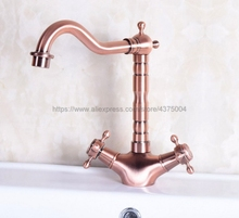цена на Basin Faucet Antique Red Copper Double Handle Bathroom Kitchen Faucet Swivel Spout Vessel Sink Mixer Tap Deck Mounted Nnf255