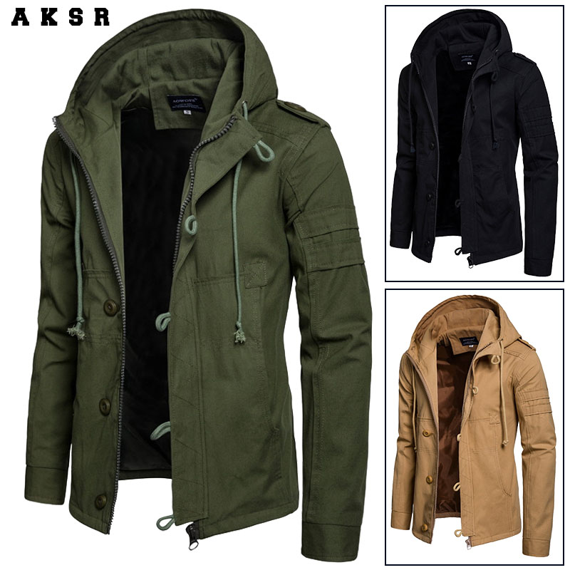 AKSR 2018 Autumn and Winter Men's Hooded Cotton Cardigan Sports Outdoor Jacket