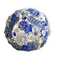 Ebedi Melek 2017 yeni el yapımı kraliyet mavi broşlar ve kristaller gelin düğün buketi tutan çiçek gelin düğün çiçekleri