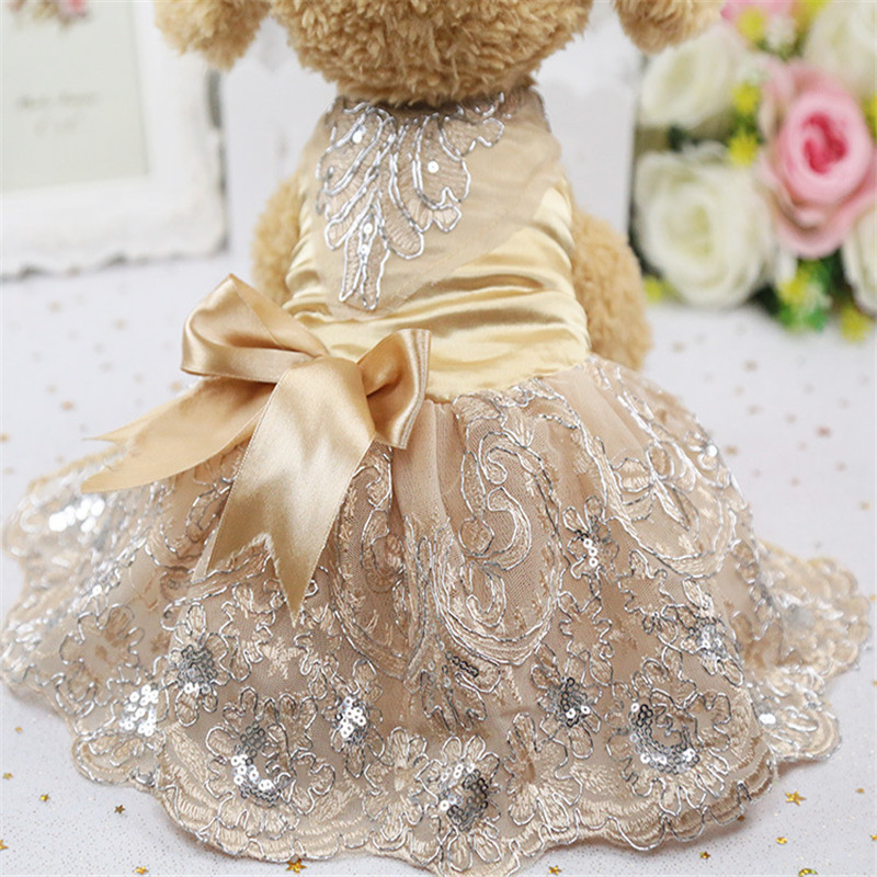 Bridal Shoes Yorkshire: Luxury Princess Sequin Lace Embroidered Dog Wedding Dress