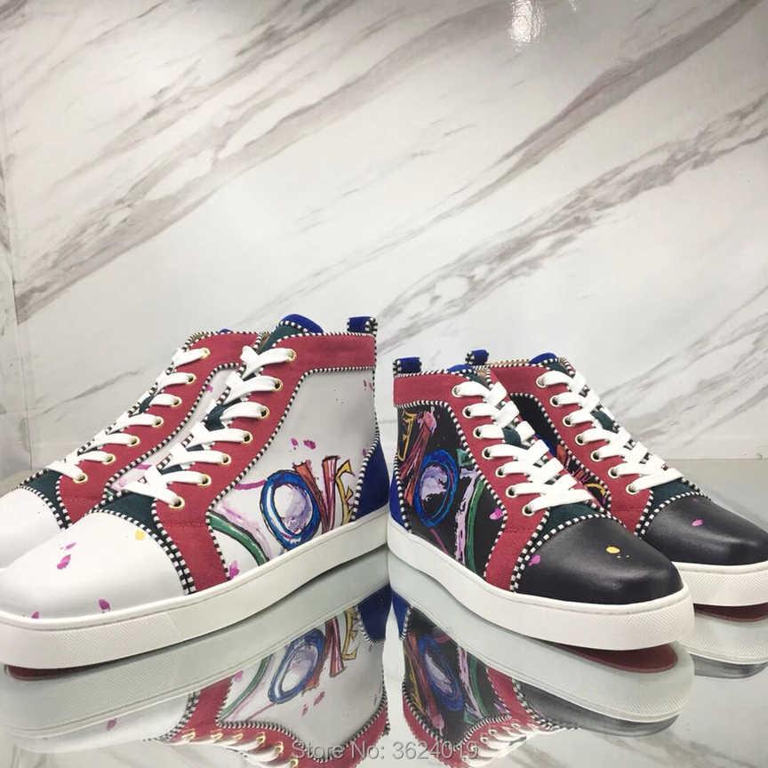 Louis Orlato Men s Flat Love inscription White Graffiti badge Lace-up Red  Bottom Shoes Sneakers 77d65e8c6793