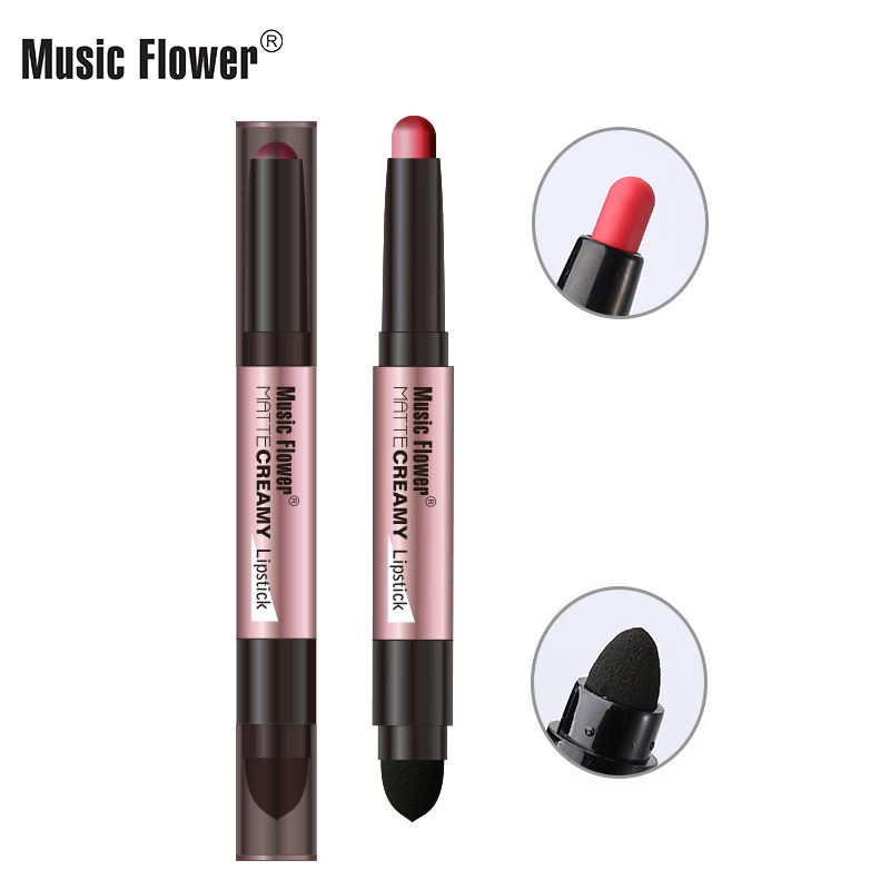 Music Flower 12 Glamorous Colors Lipstick With Sponge Long -lasting Easy to Color Non-sticky Women Makeup
