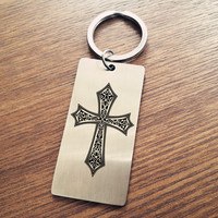 New Arrival Fashion Easter Gift Silver Color Christian Jesus Cross Key Chain Pendant Fashion Cross Keychain