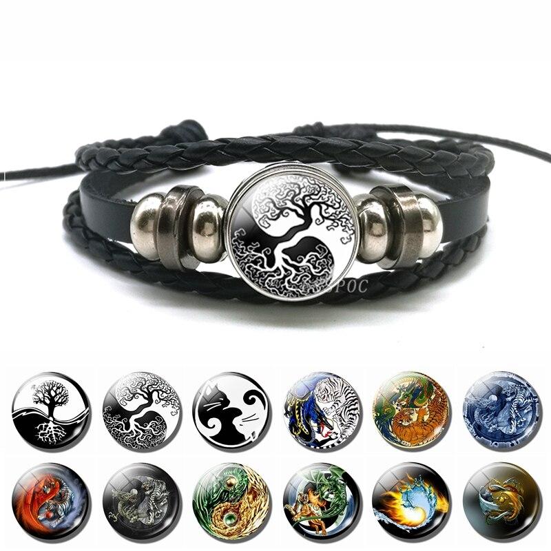 Fashion Yin Yang Charm Bracelet Life of Tree Cat Tai Chi Yin Yang Pendant Multi-layer Braided Bracelet Men Women Vintage Jewelry Браслет