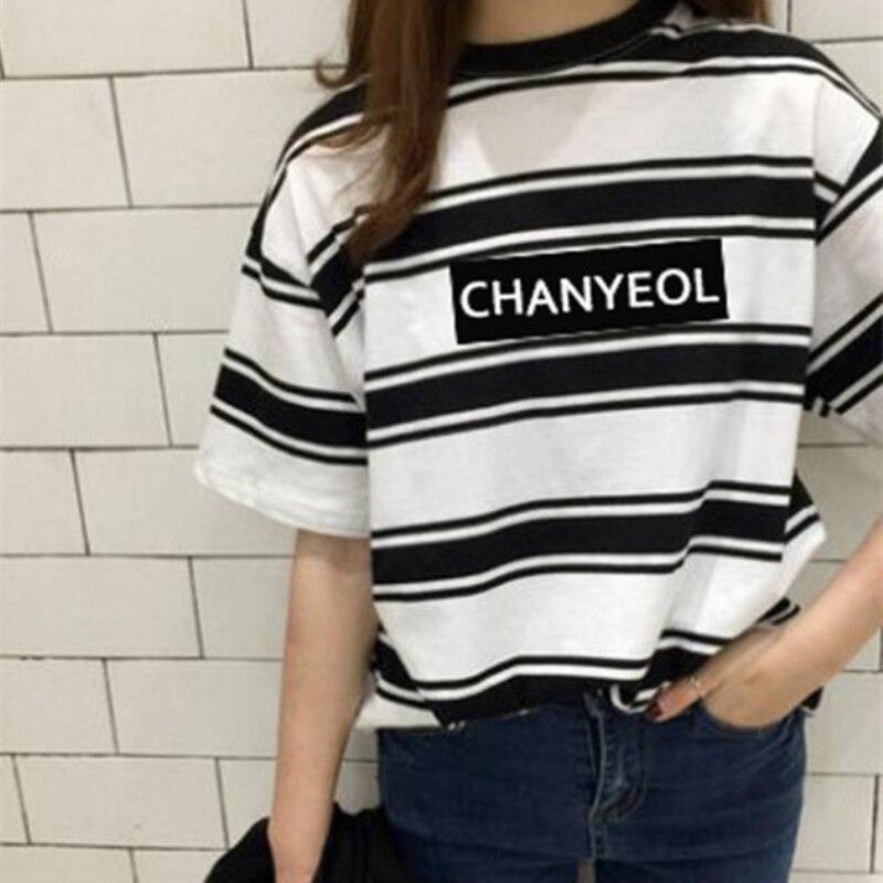 Mainlead Kpop EXO Stripe T-shirt Chanyeol Tshirt Unisex Tee Baekhyun Cotton Short Sleeve A.R.M.Y Men Women bts v warriors jacket