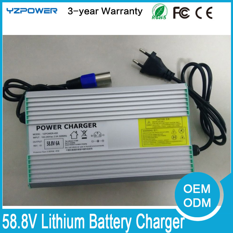 ФОТО 58.8V 4.5A 5A 5.5A 6A 6.5A 7A 7.5A Lithium Battery Charger for 14S 51.8V Lipo Bicycle Two Three Wheelchair