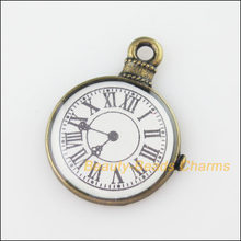 New 4Pcs Antiqued Bronze Tone Watch Clock Face Charms Pendants 18x23.5mm(China)