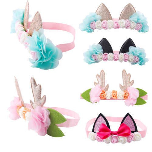 Diadema de fiesta para recién nacidos con lazo de flores para niñas, banda de pelo para niños y bebés elásticos POP para 0-6 T