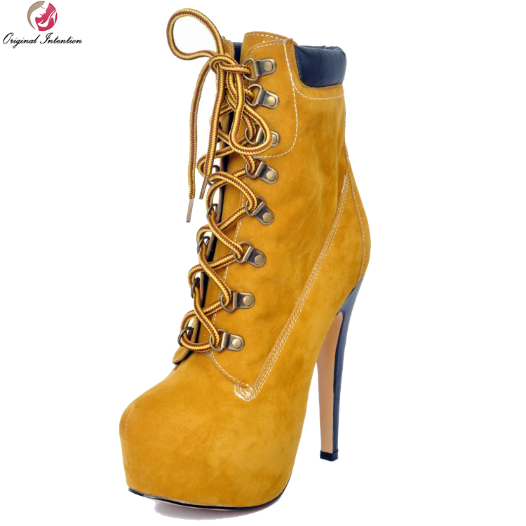 Original Intention Women Ankle Boots Beautiful Round Toe Thin Heels Boots High-quality Yellow Shoes Woman Plus US Size 4-15Original Intention Women Ankle Boots Beautiful Round Toe Thin Heels Boots High-quality Yellow Shoes Woman Plus US Size 4-15