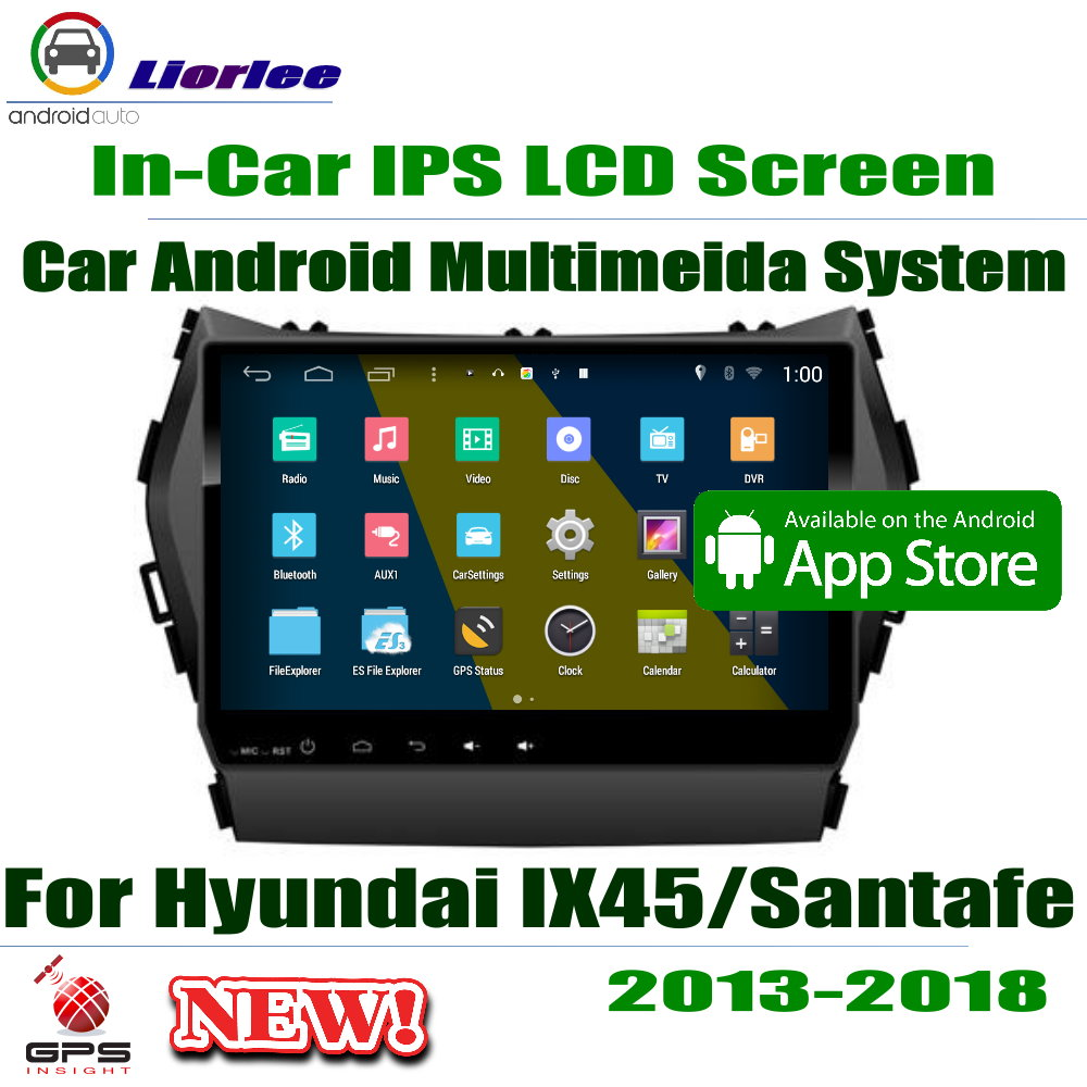 Car Android Player 9 IPS LCD Screen For Hyundai IX45 / Santafe 2013~2018 Car GPS Navigation Radio AMP BT SD USB AUX WIFICar Android Player 9 IPS LCD Screen For Hyundai IX45 / Santafe 2013~2018 Car GPS Navigation Radio AMP BT SD USB AUX WIFI