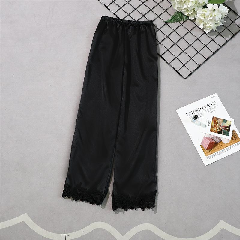 Бургундия стиль женские длинные брюки весна лето повседневная шелковистая Домашняя одежда сна Пижама банные брюки M-XL - Цвет: Черный