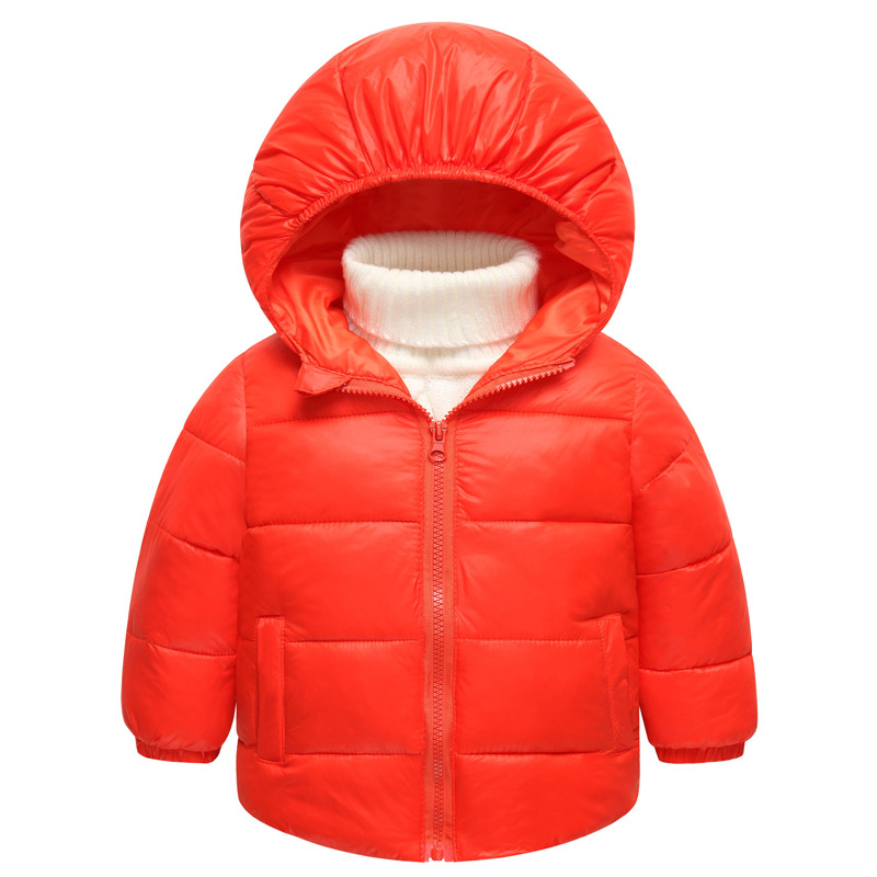 New style autumn and winter children's clothing fashion children's in the small section of children's warm cotton solid jacket sky blue cloud removable hat in the long section of cotton clothing 2017 winter new woman