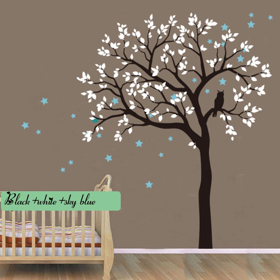 Stickers muraux énormes hibou Hoot arbre étoile Stickers muraux vinyle salon décalcomanie enfants pépinière bébé chambre décor Art maison décorative