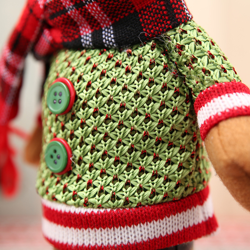1 Set Christmas Knitted Santa Claus Snowman Elk Pattern Red Wine