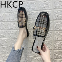 HKCP Womens Slippers Summer 2019 New Transparent PVC Upper Square Head Lattice Printing Low Heel C162