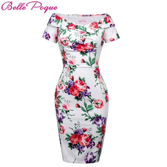 Belle Poque Summer Women Sexy Party Dresses 2018 Off Shoulder Vintage  Floral Work Office Fitted Slim Wiggle Pencil Bodycon Dress 3250ac577c8c