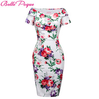 Belle Poque Summer Women Sexy Party Dresses 2017 Off Shoulder Vintage Floral Work Office Fitted Slim