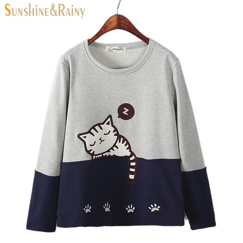 New Autumn Winter Women Sleep Cat Embroidery T Shirt