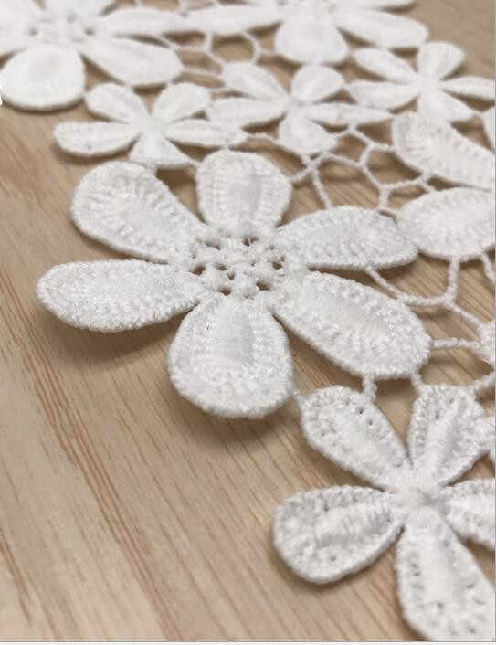 Ruban en dentelle blanche et noire pour garniture brodée de ruban de haute qualité pour coudre, tissu de dentelle, bricolage-même