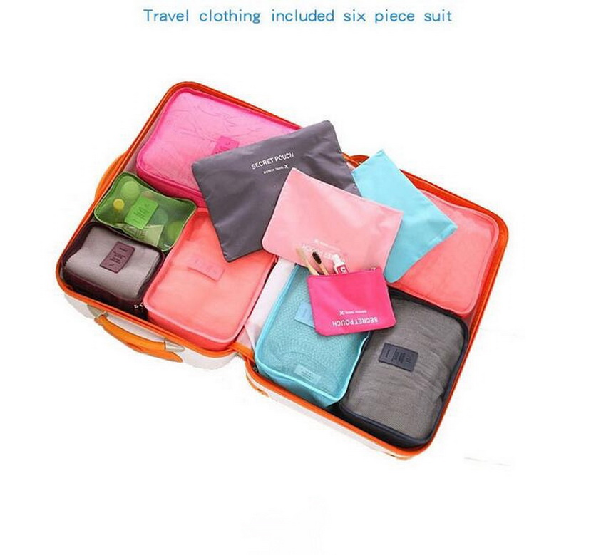 Nylon Oxford Cloth Waterproof Clothing Travel Bag Suit, Travel Clothing Included Six Piece Suit, Wash Bag.