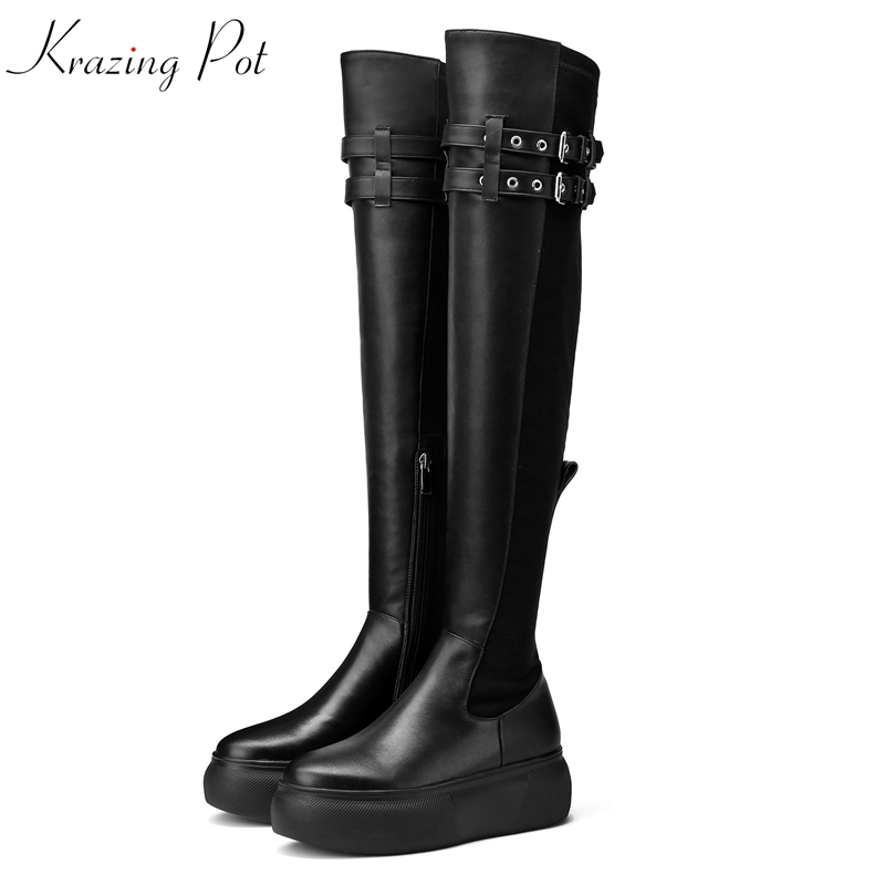 Krazing Pot new genuine leather stretch thigh high boots round toe cowboy runway increased buckle rivets over-the-knee boots L97 the new high quality imported green cowboy training cow matador thrilling backdrop of competitive entrance papeles