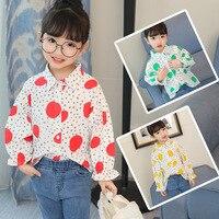 Infant Mädchen Weiß Blusen für Schule 2018 Neue Frühling Baumwolle Cartoon Dot Baby Mädchen Shirts Kinder Kleidung Kinder Kleidung 3bs063
