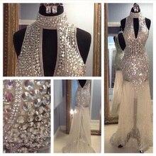 Floor Length Rhinestone Luxury Prom font b Dresses b font 2016 High Neck Tulle Open Back