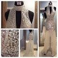 O Comprimento de piso Rhinestone Luxo Prom 2016 Alta Neck Tulle As Costas Abertas Cristal Bling Prom Vestidos de Noite Vestidos Sociais