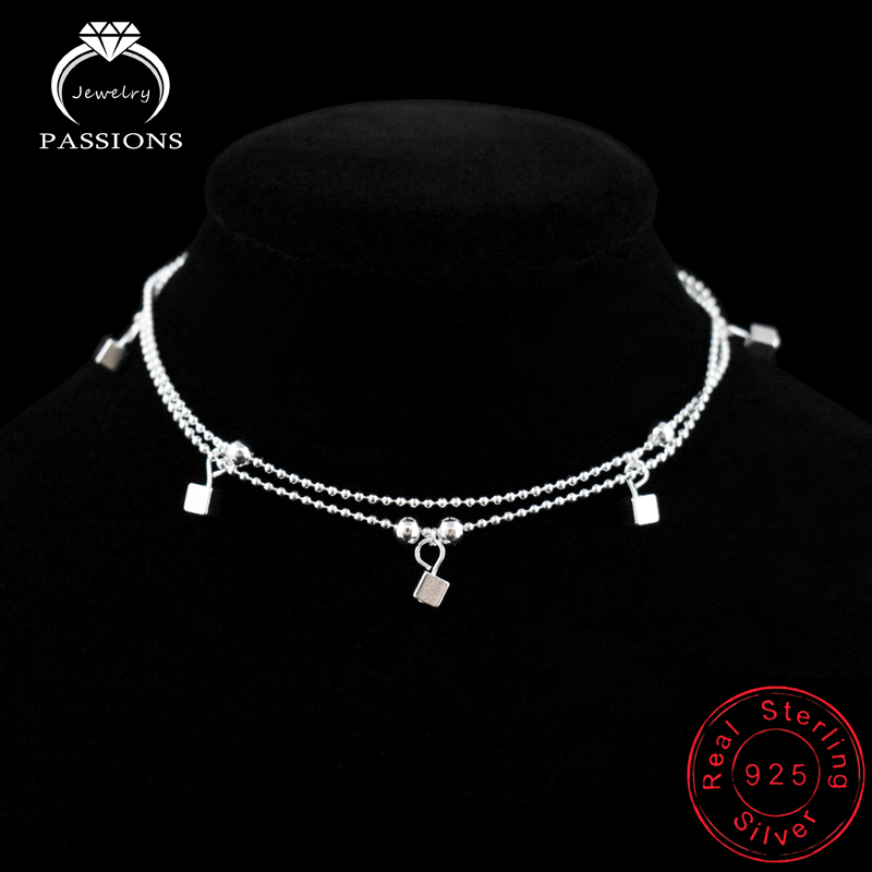 Xanımlar Ayaq Anklet 925 Sterling Gümüş Anklet Bilərziklər - Moda zərgərlik - Fotoqrafiya 4