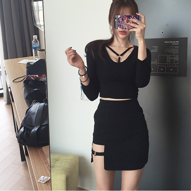 Korean women personality iron ring hip Empire dress irregular sexy black dress large size fashion Knee-Length Gothic A-Line 2