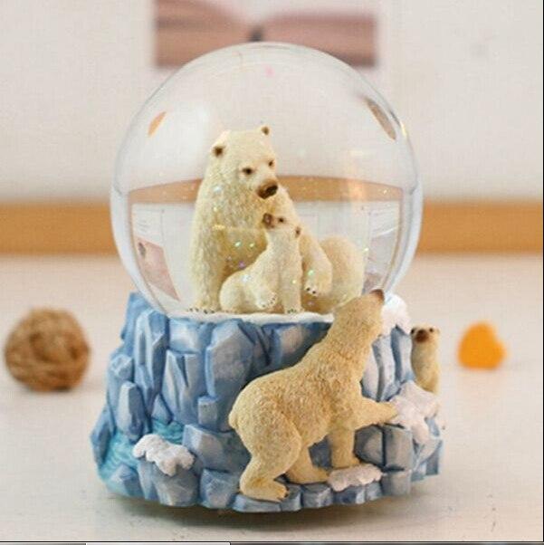 Livraison gratuite ours Polaires dans la rotation cristal boîte à musique de boule