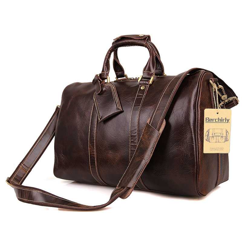 584bc5bac8ee US $113.67 42% OFF|Vintage Crazy Horse Genuine Leather Travel bag Men  Duffel Bag Luggage Travel Bag Large Men Leather Duffle Bag Weekend Tote  Big-in ...