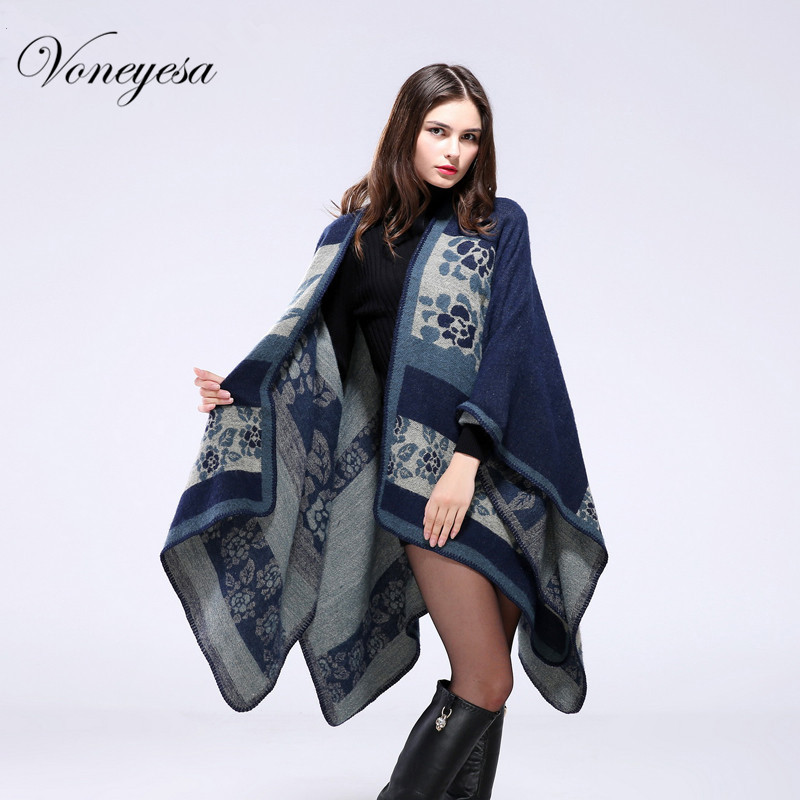 New Winter Cashmere Scarf Women Floral Print Poncho Capes Large Size Blanket Scarf Fashion Winter Cape Coat Poncho Scarf RO16022