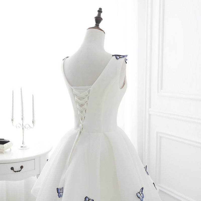 Lamya 2017 White Embroidery Butterfly V Neck Short ALine Prom Dresses Cheap Elegant Prom Dress Vestido De Festa In Stock EV2978 (6)