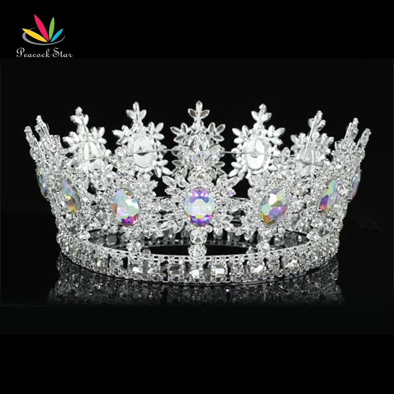 Peacock Star Men King Crown Pageant Prom Accessories Full Circle Round AB Crystals Tiara Wholesale CT1828 цена