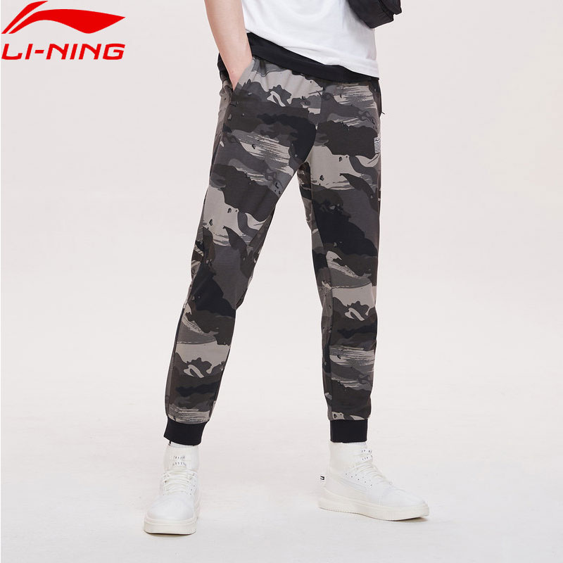 Li-Ning Men Basketball Series BAD FIVE Sweat Pants 100% Cotton Regualr Fit LiNing Comfort Camo Sports Pants AKLP207 MKY485(China)