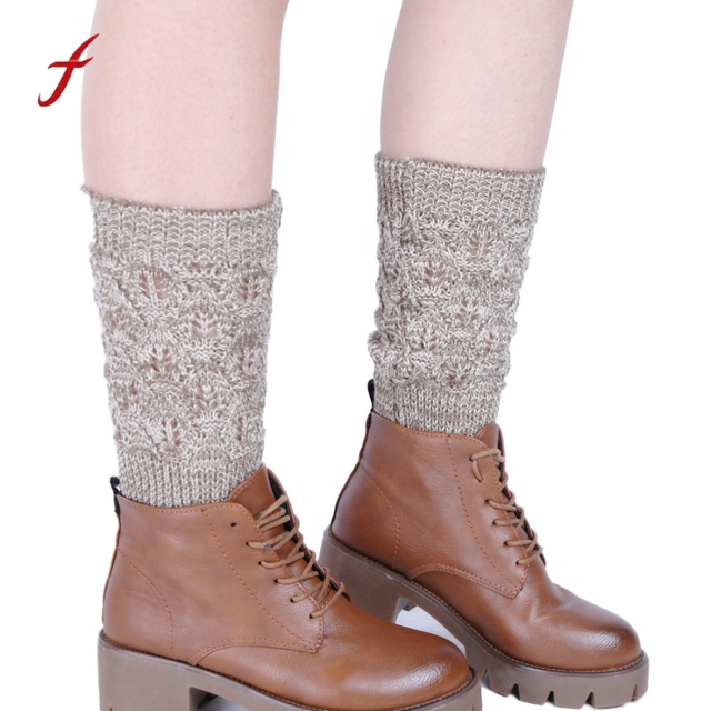 Newly Design Women Fashion Knitted Hollow Leaf Pattern Leg Warmers