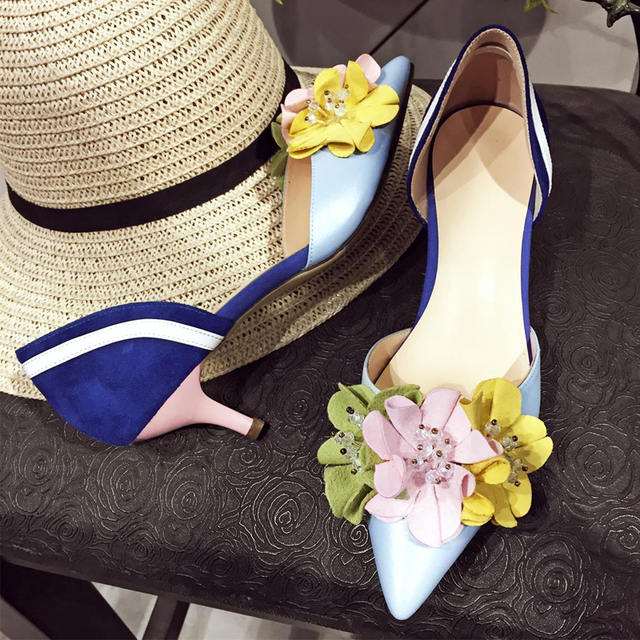 flowers spell color thin pointed closed toe designer fashion elegant simple shoes 4