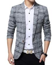 Loldeal  New Arrival Men Business Plaid blazer Casual Stripes Blazers lattice Formal jacket Popular Dress Suit